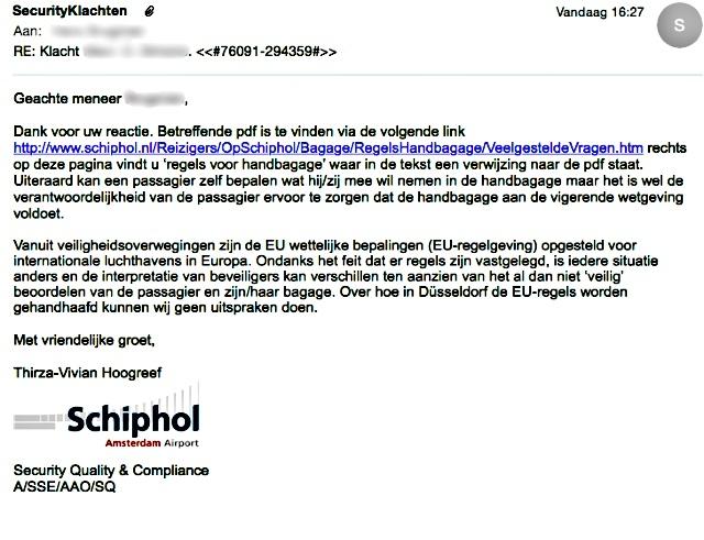 425. Brief Schiphol