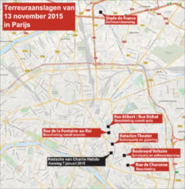 1. Kaart aanslagen Parijs